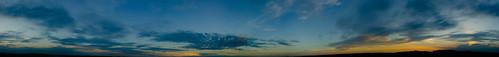 park blue sunset panorama orange nature dusk pan