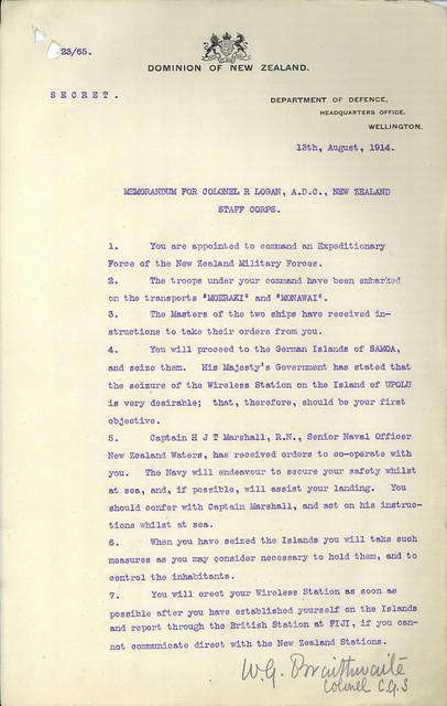 Expeditionary Force - Occupation of German Samoa by NZEF - Archives New Zealand Te Rua Mahara o te Kāwanatanga