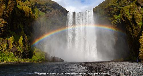 waterfall iceland rainbow skogafoss