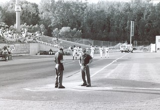Umpires Confer, Time Warner Cable Field