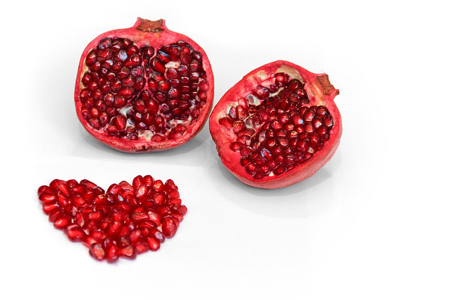 Pomegranate - isolated with heart 1