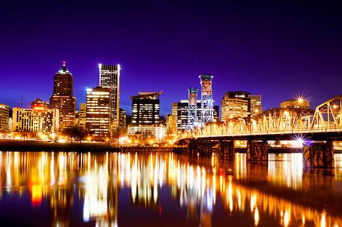 bridge portland lights nightshot willametteriver asseenwithnakedeye infinitexposure