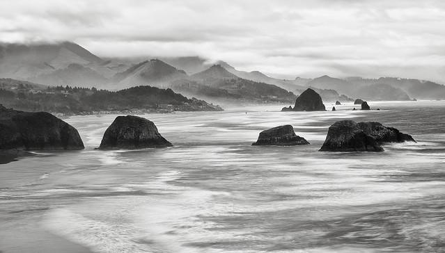 Cannon Beach coastline long exposure