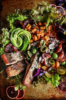 Crispy Salmon, blood orange and avocado salad from HeatherChristo.com | by Heather Christo