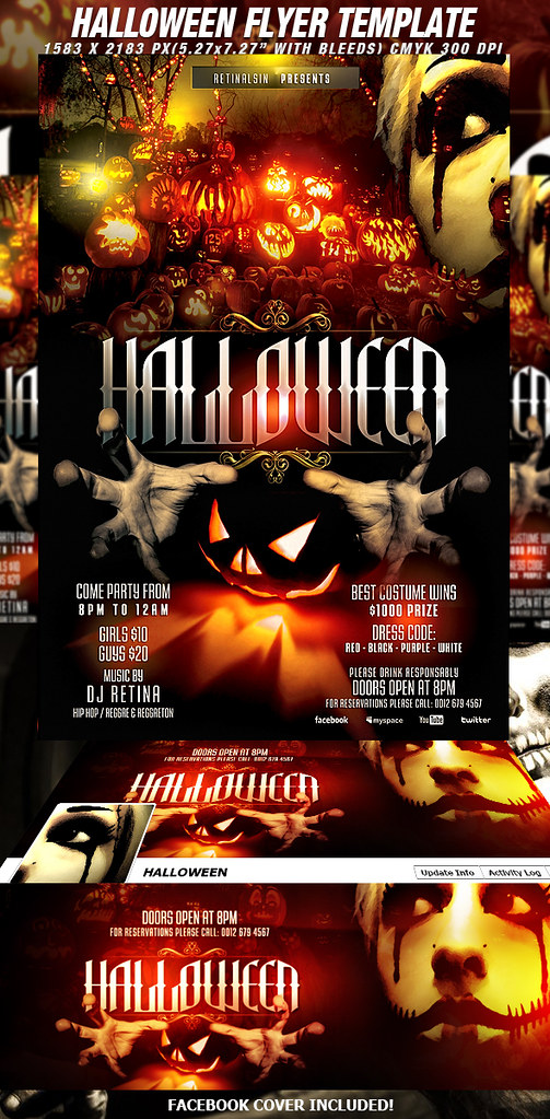 PSD Halloween Flyer Template + FB Cover | DOWNLOAD PSD FILES