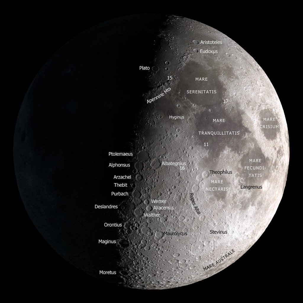 Moon Map | A map of the Moon on a black background for Octob ...