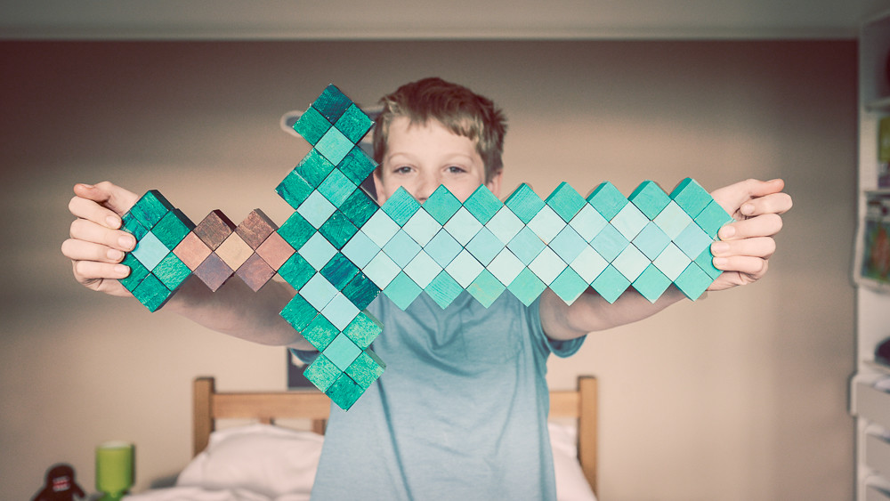Create a Large Paper Model of a Minecraft Diamond Sword ... | 563x1000