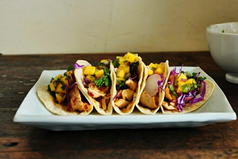 Smoky Chicken Tacos with Mango Pico de Gallo
