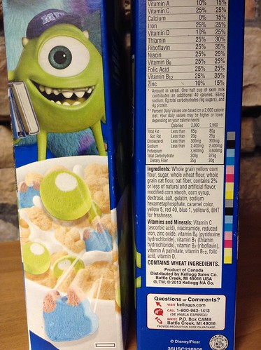 Monsters University Kellogg's Breakfast Cereal based on Monsters Inc. | by JeepersMedia