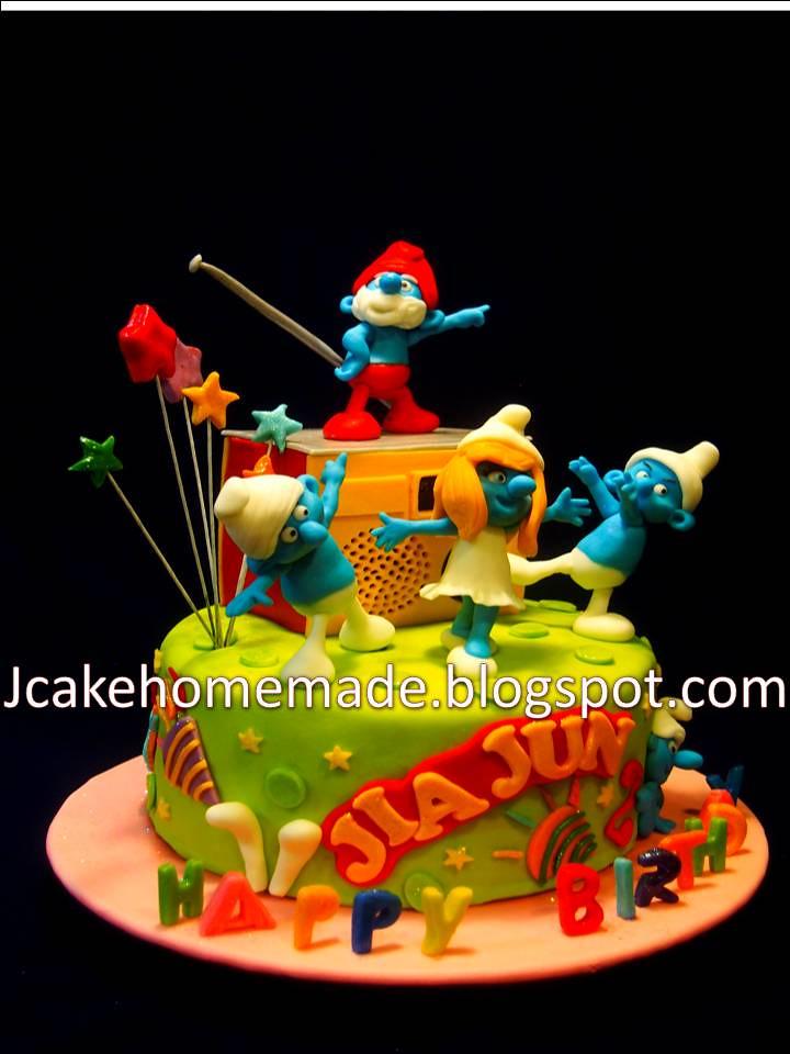 Admirable Smurfs Birthday Cake Happy 2Nd Birthday Jia Jun Thanks Mr Flickr Funny Birthday Cards Online Overcheapnameinfo