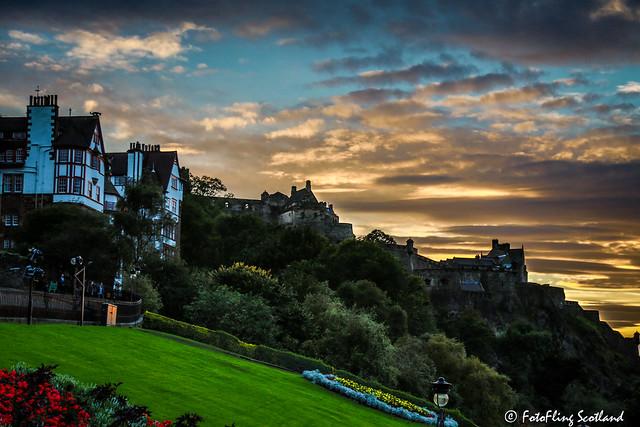 Ramsay Garden and Edinburgh Castle at Sunset