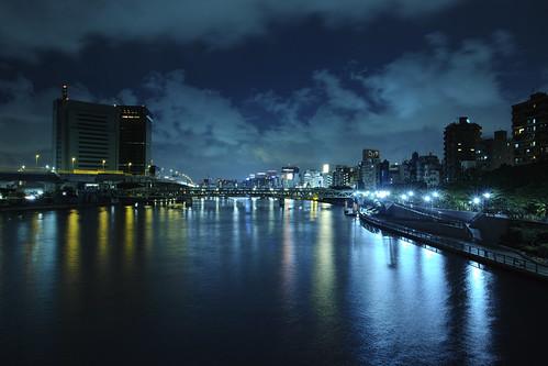 longexposure japan night tokyo cloudy asakusa 浅草 taitoku 長時間露光 sumidariver 隅田川 東京都 台東区 dp1merrill