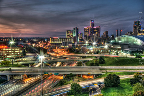 longexposure architecture sunrise downtown traffic michigan detroit nightscene i75 hdr greektown fordfield rencen skyrise brewsterprojects chryslerfreeway