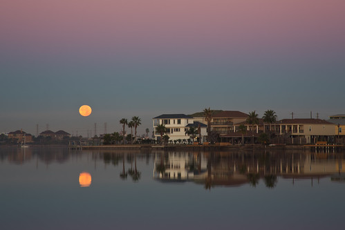 morning light sky moon galveston reflection water night canon landscape clear bayou rrs 5dmarkiii