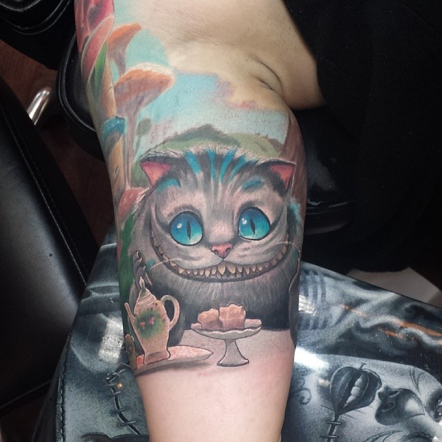 Little Cheshire Cat Tattoo At The Tea Party Addon That I D Flickr