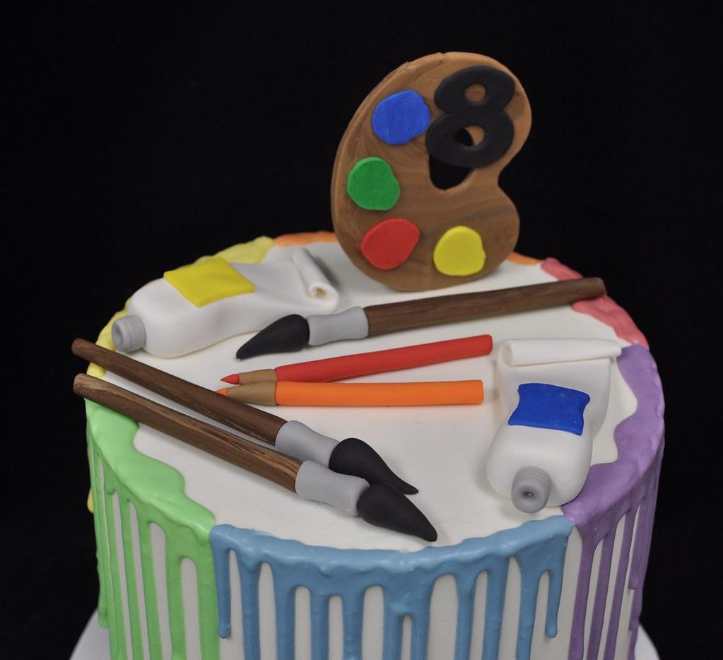 Stupendous Art Themed Birthday Cake Jenny Wenny Flickr Funny Birthday Cards Online Necthendildamsfinfo