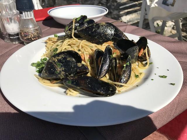 Seafood pasta, Bar La Torre, Vernazza, Ligúria.