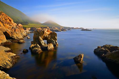 ocean california longexposure sunset mist seascape color fog landscape monterey nikon garrapatastatepark eveninglight seaarch soberanespoint montereypeninsula rockycoastline davidshield