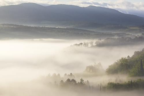 italy mist sunrise florence tuscany