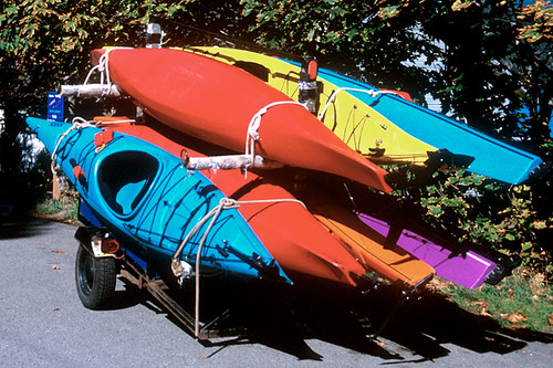 Kayaks in Maple Bay, Vancouver Island, British Columbia, Canada