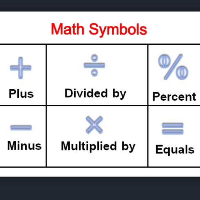 Math Symbols رموز الرياضيات Plus زائد Minus ناقص Div Flickr