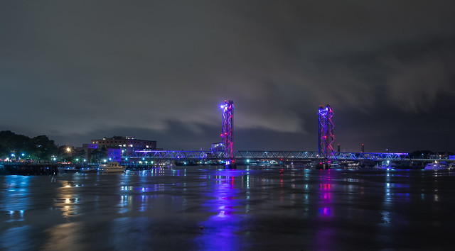 The Memorial Bridge during a  stormy evening in Portsmouth  NH