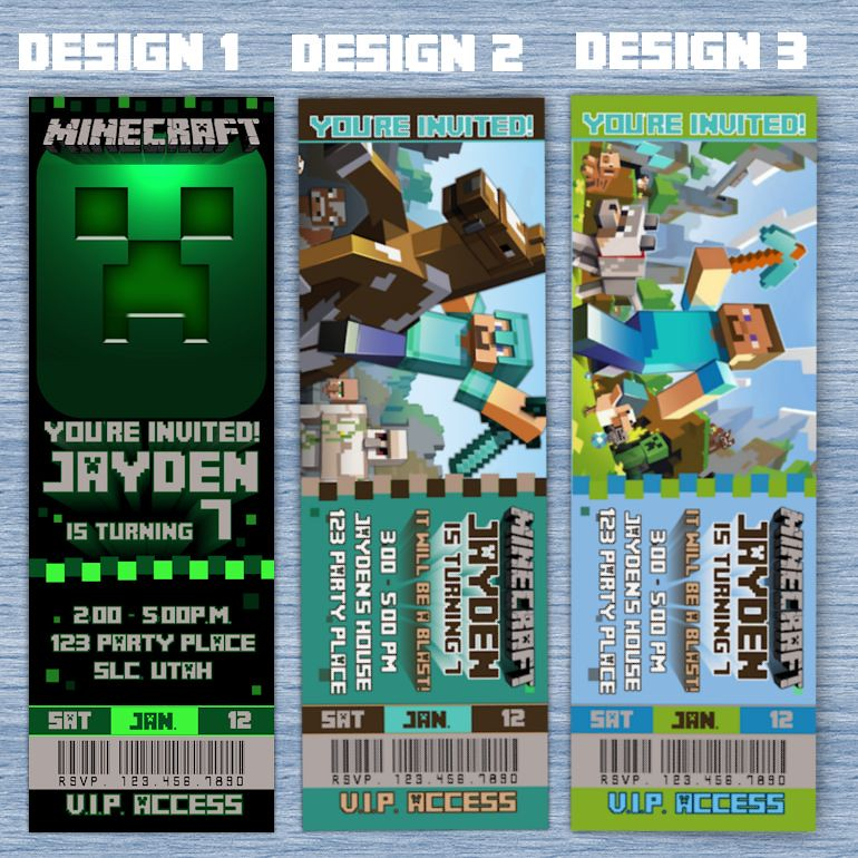 photo relating to Minecraft Birthday Invitations Printable named minecraft-birthday-invitation-tickets-123 Printable Birthd