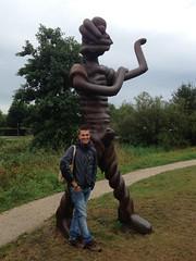 Joan with sculpture in Griftpark Utrecht