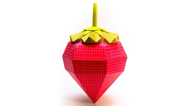 วิธีทำของเล่นโมเดลกระดาษรูปสตอเบอรี่สีแดง