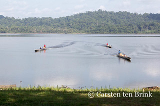 Arrival: three canoes
