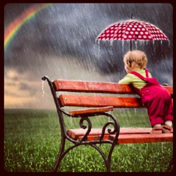 #rain #rainbow #baby #umbrella #bench #green #love #me #in ...