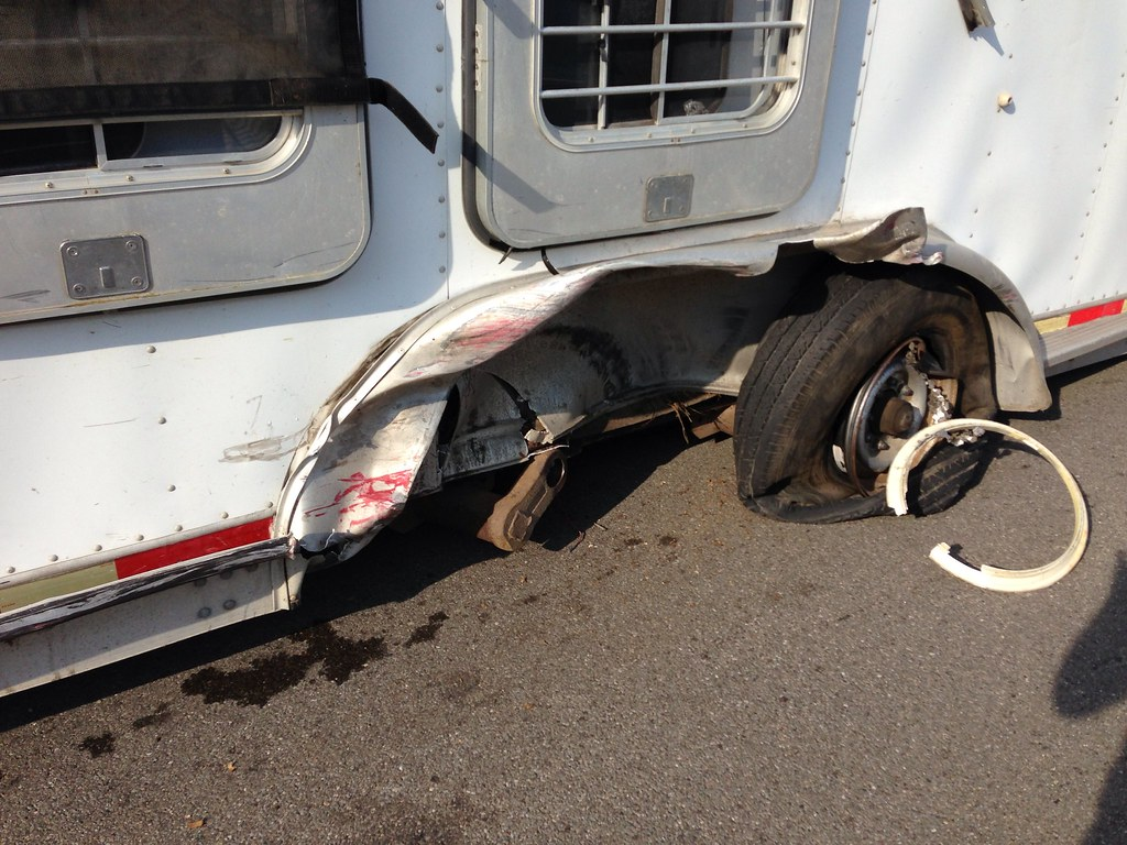 Horse Trailer Hit By Car Accident Of 7 17 13 Painted Bar Stables