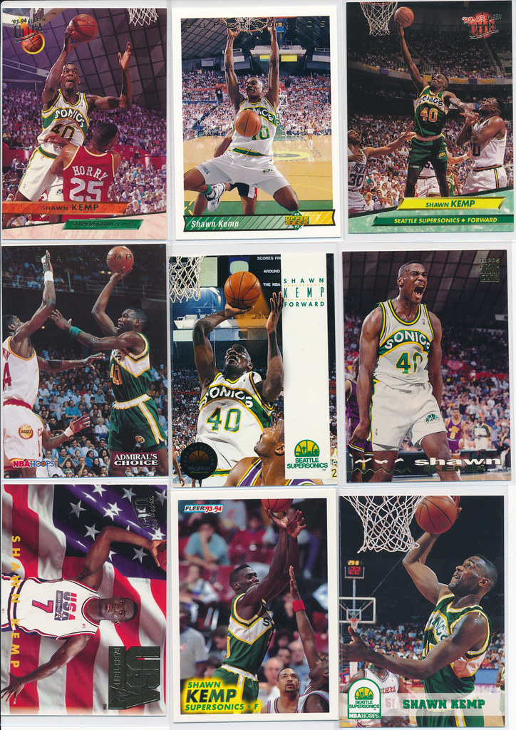 Shawn Kemp Cards 1-9 Front