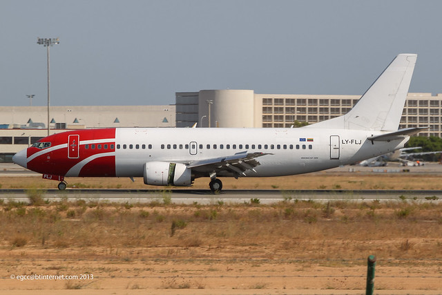 LY-FLJ - 1989 build Boeing B737-3K2, moments earlier had made just about the heaviest landing I've ever witnessed !