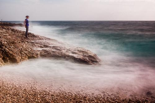 longexposure sea girl island seaside escape croatia wave adriatic losinj