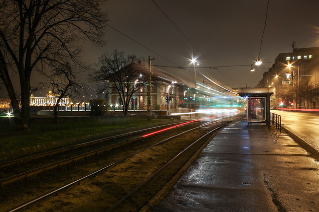 Budapest - the tram leaves the Zsil street station