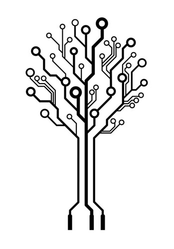Vector logo circuit board tree | by mastermindsro