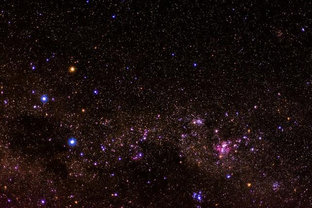 The southern cross (crux) and carina nebula