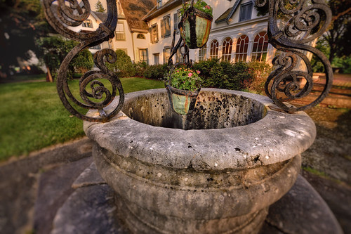 park old flowers light sunset house history evening newjersey bucket colorful warm state antique stonework well ironwork manor grounds hdr wishing ringwood