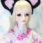 Visuadoll 「小花 萌黄」(モエギ) 猫耳浴衣