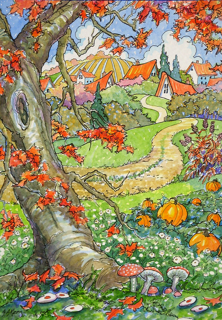Autumn Comes to the Village Storybook Cottage Series