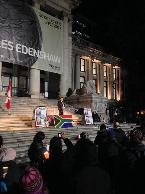 Mayor Gregor speaks at Vancouver's Nelson Mandela vigil