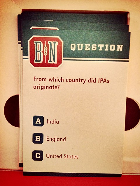 Sample trivia question of #BeerNerd game.