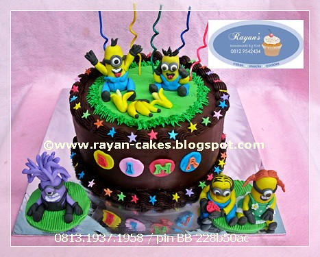 Minions Despicable Fondant Birthday Cakes Kue Ulangtahun