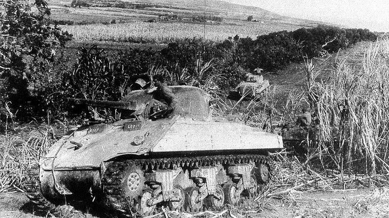 Sherman M4A2 tank coated with a layer of cemen