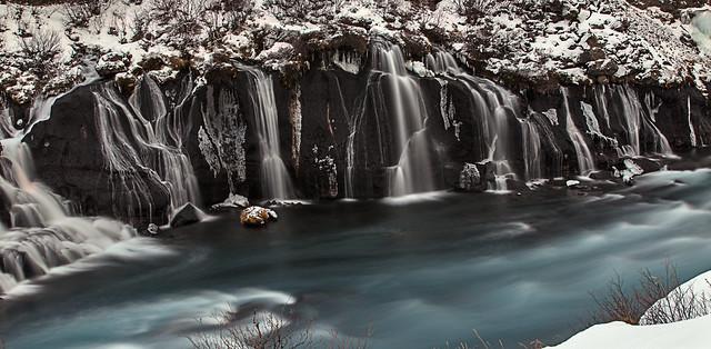 Hraunfossar Waterfalls in Borgarfjörður, Iceland