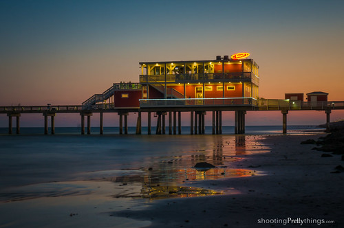 ocean sunset galveston pier texas unitedstates