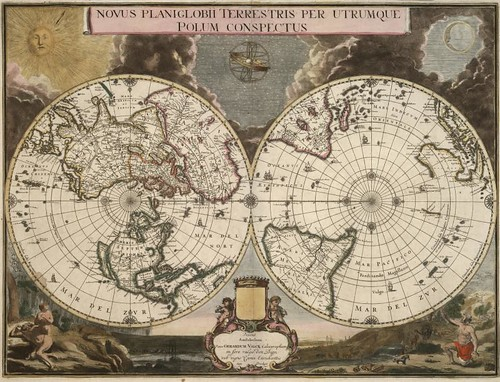 Novus planiglobii terrestris per utrumque polum conspectus | by Norman B. Leventhal Map Center at the BPL