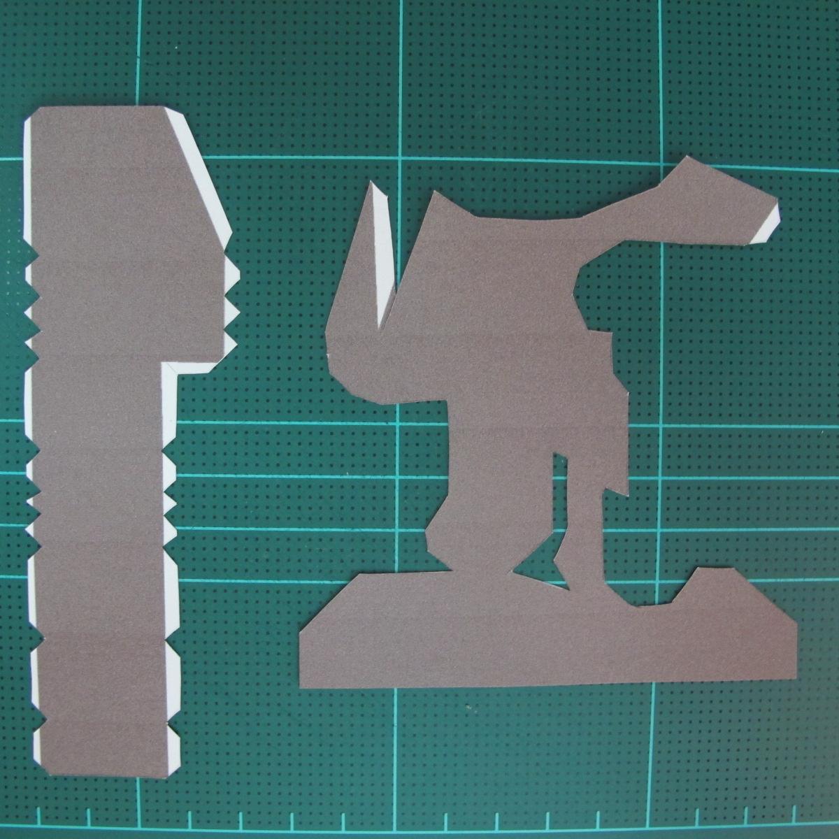 วิธีทำโมเดลกระดาษ ตุ้กตาไลน์ หมีบราวน์ ถือพลั่ว (Line Brown Bear With Shovel Papercraft Model -「シャベル」と「ブラウン」) 003