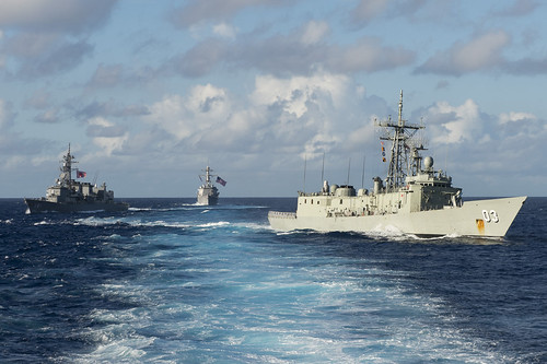 Ships break formation during Pacific Bond 2013. | by Official U.S. Navy Imagery